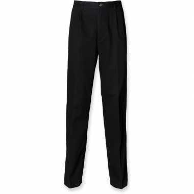 Goedkope zwarte katoenen pantalon voor heren