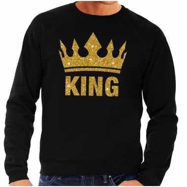 Goedkope zwarte king gouden glitter kroon trui heren