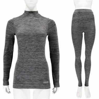 Goedkope zwarte melange thermo kleren set shirt lange mouw en broek ondergoed voor dames maat s