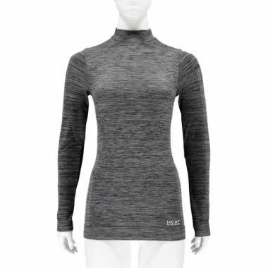 Goedkope zwarte melange thermo shirt met lange mouwen voor dames