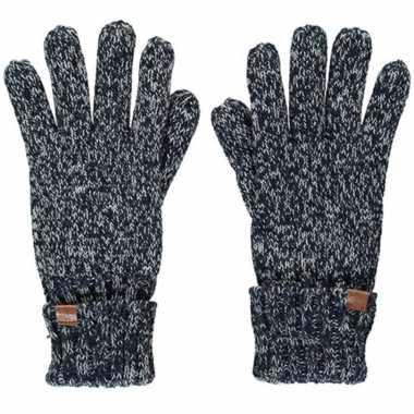 Goedkope zwarte/navy blauwe gemeleerde handschoenen met fleece voering voor jongens/meisjes/kinderen