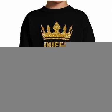 Goedkope zwarte queen gouden glitter kroon trui kinderen