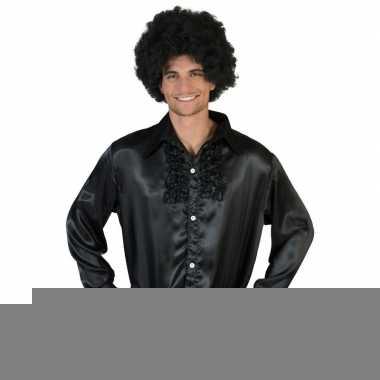 Goedkope zwarte rouche overhemd voor heren