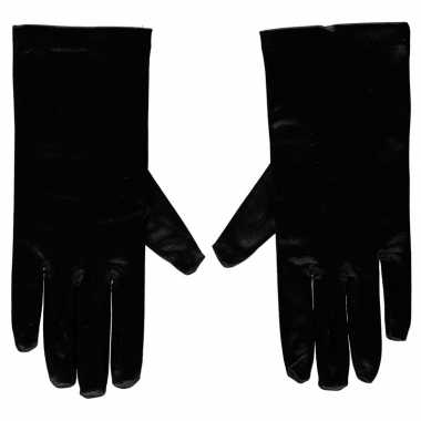 Goedkope zwarte satijnen verkleed handschoenen 20 cm