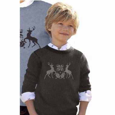 Goedkope zwarte trui met rendieren voor kinderen