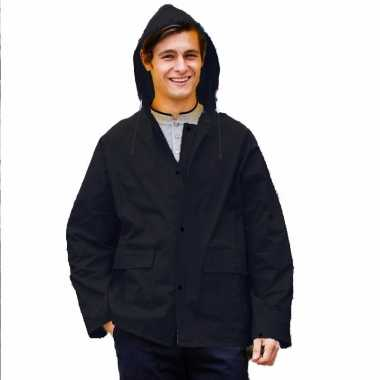 Goedkope zwarte unisex regenjas met drukknoopsluiting voor volwassene