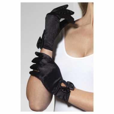 Goedkope zwarte verkleed handschoenen kort met strik voor dames