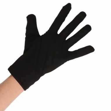 Goedkope zwarte verkleed handschoenen kort voor volwassenen
