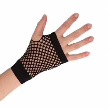 Goedkope zwarte verkleed handschoenen met gaatjes voor dames/heren