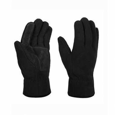Goedkope zwarte winter fleece handschoenen maat s/m