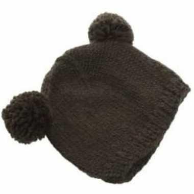Goedkope zwarte wintermuts met bolletjes voor volwassenen