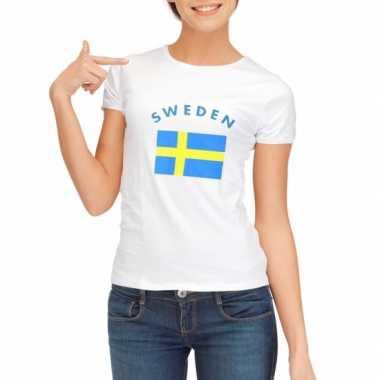 Goedkope zweedse vlag t shirt voor dames