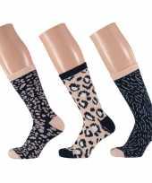 Goedkope 3 pak dames sokken beige navy maat 35 42