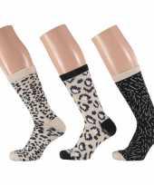 Goedkope 3 pak dames sokken beige zwart maat 35 42