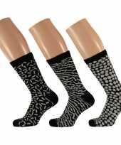 Goedkope 3 pak dames sokken zwart wit maat 35 42 type 1