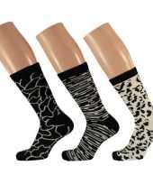 Goedkope 3 pak dames sokken zwart wit maat 35 42 type 2