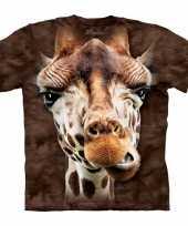 Goedkope all over print kids t-shirt giraf bruin