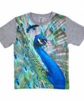 Goedkope all over print t-shirt met pauw voor kinderen
