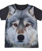 Goedkope all over print t-shirt met wolf voor kinderen