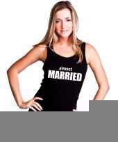 Goedkope almost married mouwloos shirt zwart voor dames