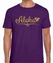 Goedkope aloha fun hawaii t-shirt paars voor heren