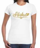 Goedkope aloha goud hawaii t-shirt wit voor dames
