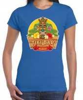 Goedkope aloha tiki bar hawaii shirt beach party outfit kleren blauw voor dames