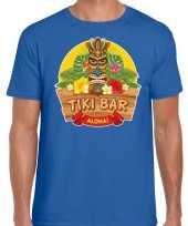 Goedkope aloha tiki bar hawaii shirt beach party outfit kleren blauw voor heren