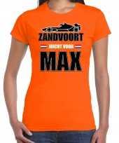 Goedkope autocoureur autosport supporter zandvoort juicht voor max t-shirt oranje voor dames 10297191