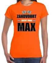 Goedkope autocoureur autosport supporter zandvoort juicht voor max t-shirt oranje voor dames