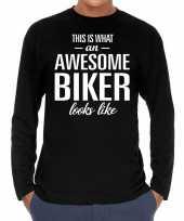 Goedkope awesome biker motorrijder cadeau shirt zwart voor heren