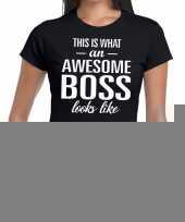 Goedkope awesome boss fun t-shirt zwart voor dames