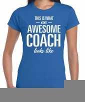 Goedkope awesome coach cadeau t-shirt blauw voor dames coach bedankt cadeau