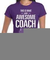 Goedkope awesome coach cadeau t-shirt paars voor dames coach bedankt cadeau