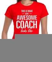 Goedkope awesome coach cadeau t-shirt rood voor dames coach bedankt cadeau