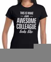 Goedkope awesome colleague fun t-shirt zwart voor dames