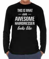 Goedkope awesome hairdresser kapper cadeau shirt zwart voor heren