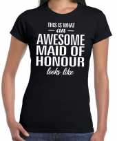 Goedkope awesome maid of honour kado t-shirt zwart voor dames