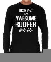 Goedkope awesome roofer dakdekker cadeau shirt zwart voor heren