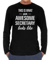 Goedkope awesome secretary secretaris cadeau shirt zwart voor heren