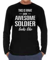 Goedkope awesome soldier soldaat cadeau shirt zwart voor heren
