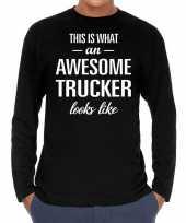 Goedkope awesome trucker vrachtwagenchauffeur cadeau shirt zwart voor heren