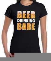Goedkope beer drinking babe fun shirt zwart voor dames drank thema