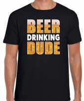 Goedkope beer drinking dude fun shirt zwart voor heren drank thema