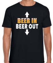 Goedkope beer in beer out fun shirt zwart voor heren drank thema
