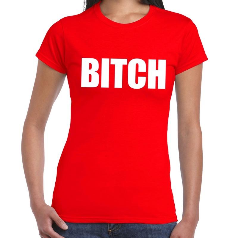 Goedkope bitch fun t-shirt rood voor dames
