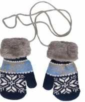 Goedkope blauw grijze gebreide handschoenen met noorse print voor peuters