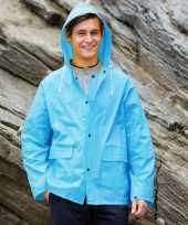 Goedkope blauwe unisex regenjas met drukknoopsluiting voor volwassenen
