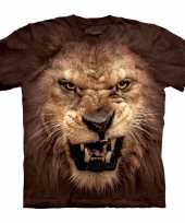 Goedkope bruin realistisch leeuwen t-shirt