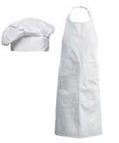 Goedkope chef verkleed set muts en kookschort voor kinderen